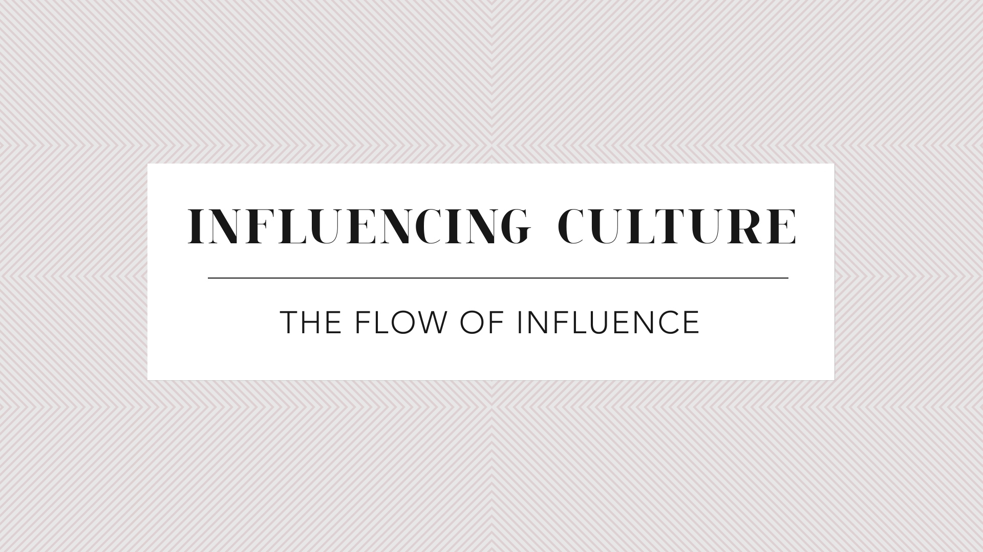 The Flow of Influence